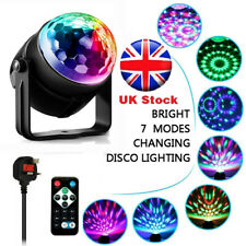 Disco Party Stage Rotating Ball LED Lighting UK Plug Remote Voice Active 7 RGB