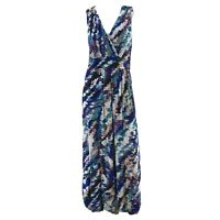 Soma Empire Waist Sleeveless Ikat Style Print Maxi Dress Womens Size Medium