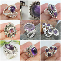 AMETHYST 925 SOLID STERLING SILVER HANDMADE JEWELRY RINGS IN ALL SIZE & SHAPE