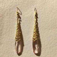 NEW ART DECO STYLE VINTAGE GOLD BRASS FILIGREE LONG PALE PINK DROP EARRINGS hook