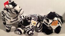 """Lot of 3 Plush Zebras Animal Kingdom Disney Fiesta Westcliff two 10"""" one 8"""" tall"""