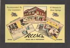 LINEN POSTCARD:  REESE'S SNACK BAR & RESTAURANT - OCALA, FLORIDA - Unused, 1950s