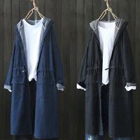 UK 8-24 Women Oversize Hooded Denim Jeans Long Sleeve Coat Jacket Tops Outwear