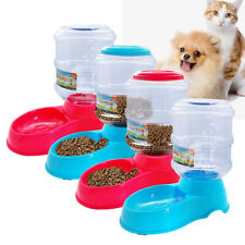 3.5L Automatic Dog Cat Food Feeder Water Fountain Dish Bowl Bottle Dispenser