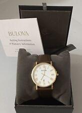 Bulova Men's American Clipper Brown Leather Strap Watch 40mm 97B183