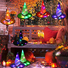 6x Halloween Christmas Xmas Hanging Decor Lighted Glowing Witch Hats Led Lights