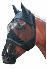 Horse Mesh Fly Mask w/ Ears Fleece Lined w/ Fringe Comfortable Protection Black