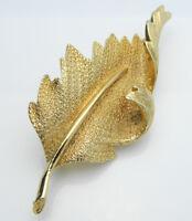CORO Pegasus Gold Tone Leaf Pin Brooch Vintage