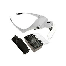 Comfortable Magnifying Headset Glasses w/ 5 Magnifier Pieces & Strap - 2 LEDs
