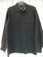 Tommy Hilfiger Mens Shirt L Cotton Button Down Muddy Green Red Checked Rugged