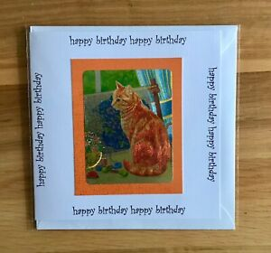 Handmade Birthday card 144x144mm light reflective Ginger cat tapestry