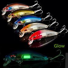 5pcs Fishing Lure Luminous Night Minnow 7cm/10.4g Laser Printing Sinking Wobbler