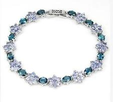 21ct London Blue Topaz & Tanzanite Bracelet in Gold Overlay 925 Sterling Silver