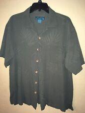 Men's Large Paradise Blue 100% Silk Button Down Shirt