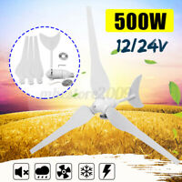 500W 12/24V Horizontal Wind Turbine Generator 3 Blades Residential Home  H
