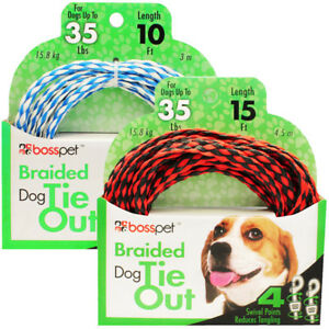 Braided Poly Rope Dog Tie Out Strong Lightweight Teather Holds 35lbs Choose Size
