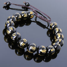 Men's Women Bright Black Onyx Braided Bracelet Hot Stamping OM Buddhism 782