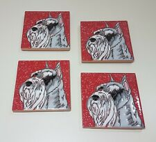 Set of 4 Ceramic Miniature Schnauzer Coasters with Wooden Holder