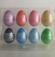 "NIP SPRITZ Easter Egg 8 Ct Pack  Plastic Eggs Pastel with Line Design 3""x 2 1/4"""