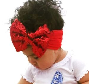 Red Christmas Sequins Bow Knot Headbands