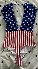 American Apparel Flag Bathing Suit XS festival USA red white blue party rave new