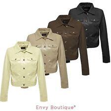 Ladies Womens Pu Jacket Faux Leather Snake Skin Pvc Crop Jacket