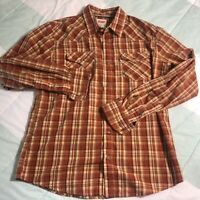 LEVI'S MEN'S PLAID Long Sleeve Western Style Pearl Snap Buttons Medium M Shirt