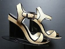 Michael Kors Black Patent Leather Woven Rattan Ankle Strap Wedge Sz. 9M MINTY!