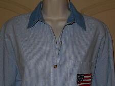 Shirt Womens L Top American Flag Blue White Strip Blouse Long Sleeves 5m27
