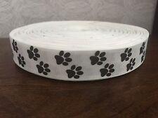 "1m White Dog Paw Print Collar Lead Printed Grosgrain Ribbon, 7/8"" 22mm"