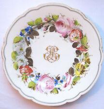 Plate porcelain of Paris, monogram gold Bl, painted flower, signed Leveille 1869