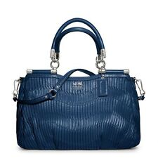 NWT Coach Madison Carrie Gathered Leather Satchel Bag 21281 Silver/Rhodium(Blue)