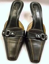 COACH MADDISON 8.5 B  SHOES MULES~BROWN SLIDE~DARK BROWN STRAP~SILVER BUCKLE