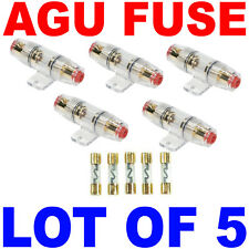 LOT of 5 Gold AGU IN LINE FUSE HOLDERS 4 8 10 Gauge Plus 5 Free 60 Amp Fuse USA