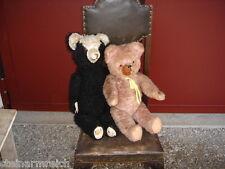 2 alte TEDDYBÄREN HOLZWOLLE gestopft PANDABÄR+rosa 75+70cm Teddybär Panda