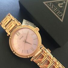 Guess Ladies Rose Gold Tone Bracelet Classic Watch w/ Crystals U0767L3 NWT Box
