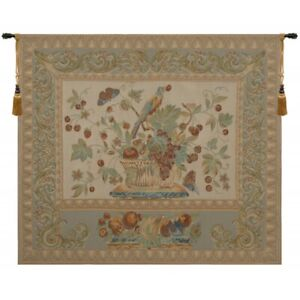 """The Jay in Beige European Tapestry Wall Hanging H 52"""" x W 60"""""""