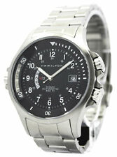 Hamilton Khaki Navy GMT Black Dial Steel Automatic Men Watch H77615133 New Orig