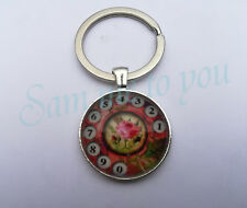 RETRO PHONE & FLOWER Glass Pendant & Necklace or Key Ring Gift Jewellery UK FAST