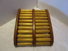 """Vintage Wood Foot stool Roller Massage Exerciser Therapy Relax 13""""L x 11""""W Retro"""