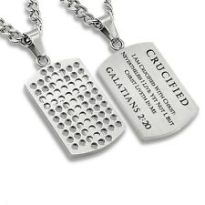 Tag Necklace for Men Galatians 2:20 Crucified With Christ Stainless Steel Dog