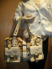 "Mulberry Cream Tan Brown Woven Leather Top Handle ""Roxanne"" Designer Women's Han"