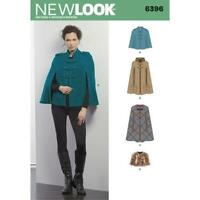 New Look Sewing Pattern 6396 Misses Capes Capelets Dress Size XS-XL Uncut