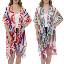 Women's Kimono Summer Floral Print Super Light Long Top Cover Beachwear Dress