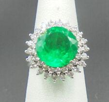 Gorgeous gota de aceite Emerald 3.90 ct Ring 14k yellow gold with diamonds AGL