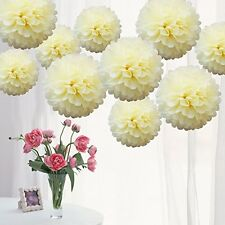 5Pcs Tissue Paper Pom Poms 12 inches for Birthday & Party Decorations-Ivory