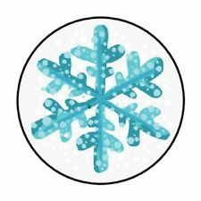 """48 CHRISTMAS WINTER SNOWFLAKE ENVELOPE SEALS LABELS STICKERS 1.2"""" ROUND"""