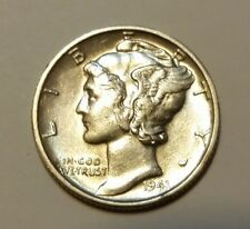 1941-D AU+ MERCURY SILVER DIME REAL BEAUTY  - MUST SEE