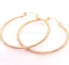 Women White 18K Yellow Gold Plated Classic Birthday Big Hoop Earrings 4 5 6.5cm