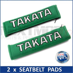 2 x JDM TAKATA GREEN SEAT BELT HARNESS COMFORT PAD, Pair, Bride, Harness, NEW